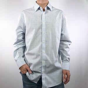 Non-Iron Slim Fit Blue Green Dress Shirt 17 34